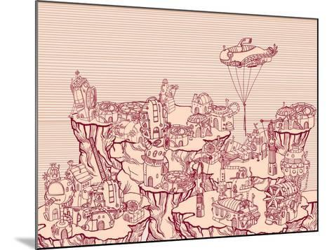 Ancient Steampunk City on the Hills.-RYGER-Mounted Art Print