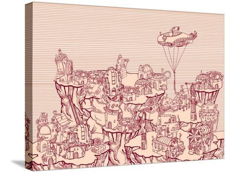 Ancient Steampunk City on the Hills.-RYGER-Stretched Canvas Print