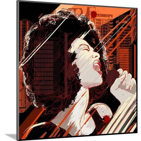 Vector Illustration of an Afro American Jazz Singer on Grunge Background-isaxar-Mounted Art Print