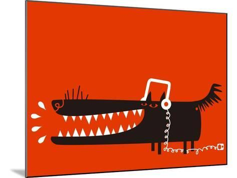 Wolf with Headphones Listens to Music-Complot-Mounted Art Print