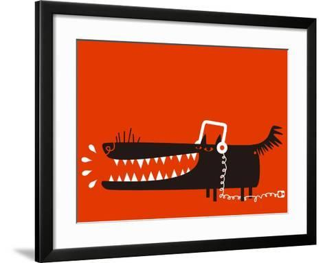 Wolf with Headphones Listens to Music-Complot-Framed Art Print