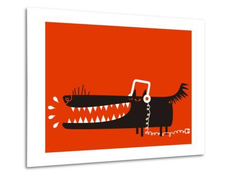 Wolf with Headphones Listens to Music-Complot-Metal Print
