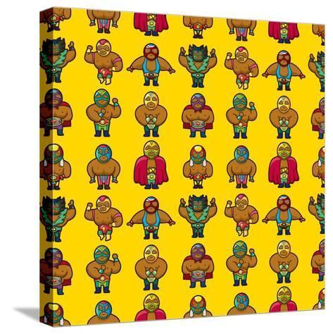 Wrestler Pattern-notkoo-Stretched Canvas Print