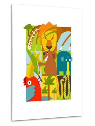 Flat African Animals Symbols Set. Giraffe Lion Elephant Toucan Gazelle Palm. Vector Illustration EP-Popmarleo-Metal Print