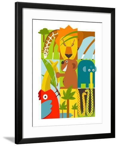 Flat African Animals Symbols Set. Giraffe Lion Elephant Toucan Gazelle Palm. Vector Illustration EP-Popmarleo-Framed Art Print