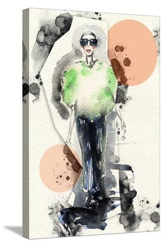Woman . Hand Painted Fashion Illustration-Anna Ismagilova-Stretched Canvas Print