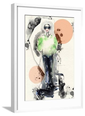 Woman . Hand Painted Fashion Illustration-Anna Ismagilova-Framed Art Print