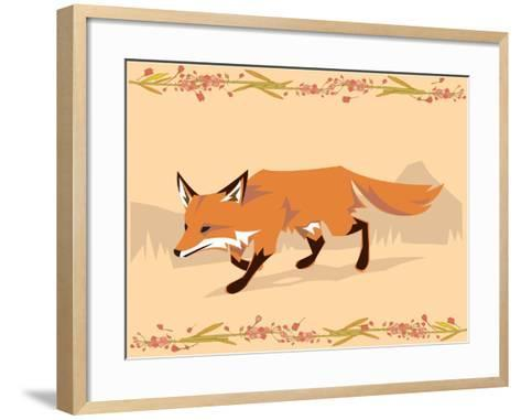 Fox in a Decorative Composition-Artistan-Framed Art Print