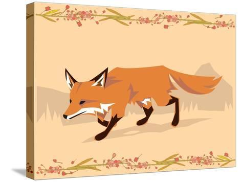 Fox in a Decorative Composition-Artistan-Stretched Canvas Print