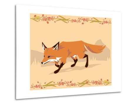 Fox in a Decorative Composition-Artistan-Metal Print