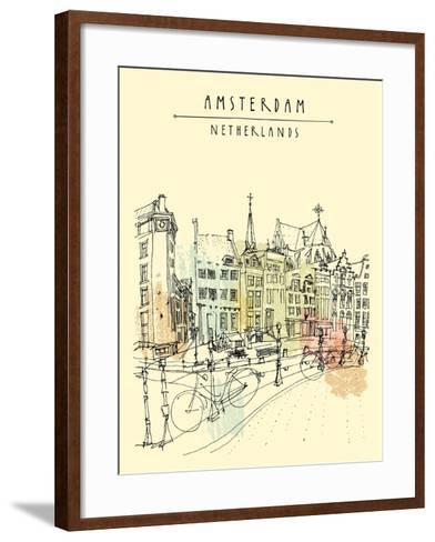 Bridge in Amsterdam, Holland, Netherlands Europe. Dutch Traditional Historical Buildings. Typical D-babayuka-Framed Art Print