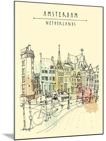 Bridge in Amsterdam, Holland, Netherlands Europe. Dutch Traditional Historical Buildings. Typical D-babayuka-Mounted Art Print