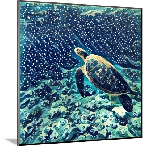 Sea Turtle Swimming Underwater. Digital Illustration in Watercolor Style. Exotic Wild Animal in Nat-Davdeka-Mounted Art Print