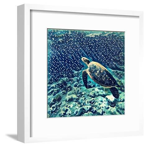 Sea Turtle Swimming Underwater. Digital Illustration in Watercolor Style. Exotic Wild Animal in Nat-Davdeka-Framed Art Print