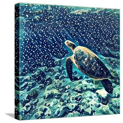 Sea Turtle Swimming Underwater. Digital Illustration in Watercolor Style. Exotic Wild Animal in Nat-Davdeka-Stretched Canvas Print