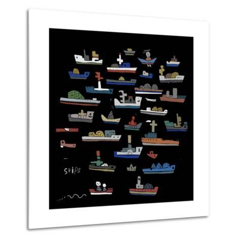 The Symbolic Image of the Ships on a Black Background-Dmitriip-Metal Print