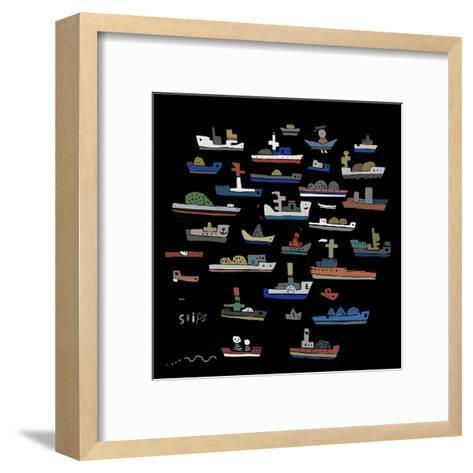 The Symbolic Image of the Ships on a Black Background-Dmitriip-Framed Art Print
