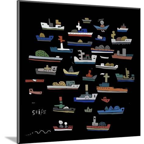 The Symbolic Image of the Ships on a Black Background-Dmitriip-Mounted Art Print