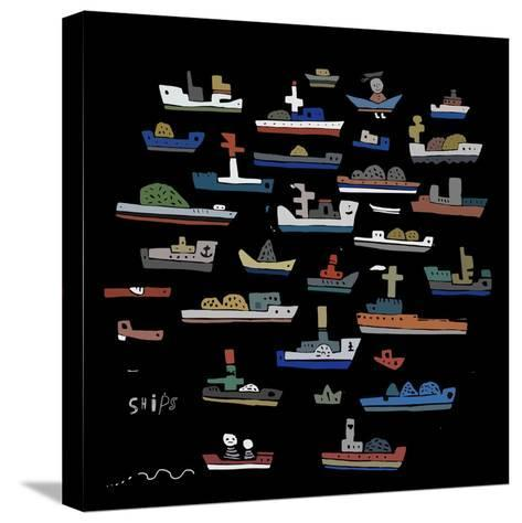 The Symbolic Image of the Ships on a Black Background-Dmitriip-Stretched Canvas Print