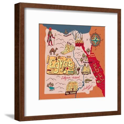 Illustrated Map of Egypt-Daria_I-Framed Art Print