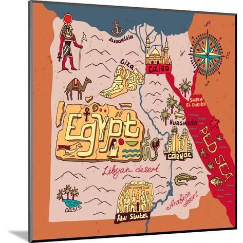 Illustrated Map of Egypt-Daria_I-Mounted Art Print