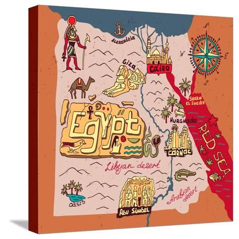 Illustrated Map of Egypt-Daria_I-Stretched Canvas Print