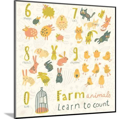 Farm Animals. Learn to Count Part One. 6 Sheep, 7 Cats, 8 Rabbits, 9 Chickens, 0 Birds. Funny Carto-smilewithjul-Mounted Art Print
