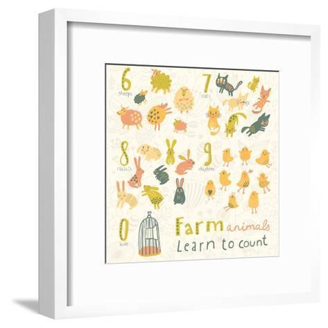 Farm Animals. Learn to Count Part One. 6 Sheep, 7 Cats, 8 Rabbits, 9 Chickens, 0 Birds. Funny Carto-smilewithjul-Framed Art Print