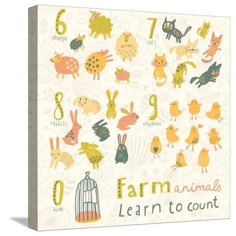 Farm Animals. Learn to Count Part One. 6 Sheep, 7 Cats, 8 Rabbits, 9 Chickens, 0 Birds. Funny Carto-smilewithjul-Stretched Canvas Print