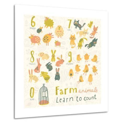 Farm Animals. Learn to Count Part One. 6 Sheep, 7 Cats, 8 Rabbits, 9 Chickens, 0 Birds. Funny Carto-smilewithjul-Metal Print