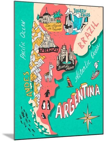 Illustrated Map of Argentina. Travel. Cartography-Daria_I-Mounted Art Print