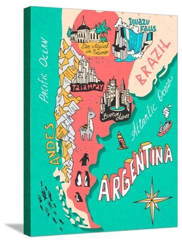 Illustrated Map of Argentina. Travel. Cartography-Daria_I-Stretched Canvas Print