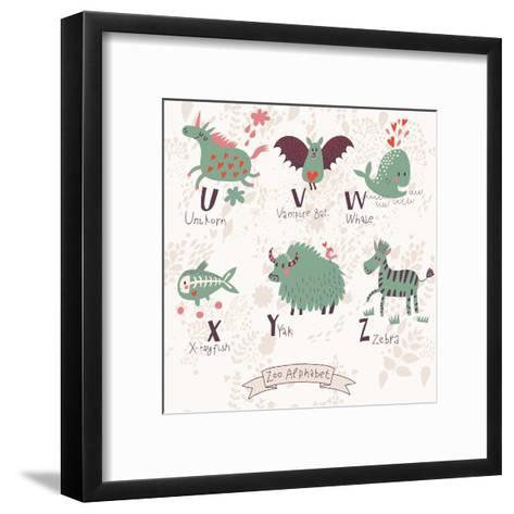 Cute Zoo Alphabet in Vector. U, V, W, X, Y, Z Letters. Funny Animals in Love. Unicorn, Vampire Bat,-smilewithjul-Framed Art Print