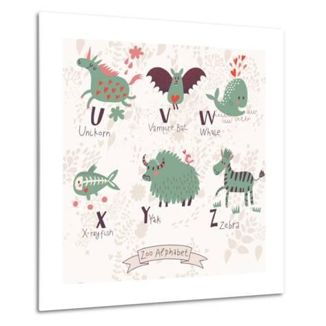 Cute Zoo Alphabet in Vector. U, V, W, X, Y, Z Letters. Funny Animals in Love. Unicorn, Vampire Bat,-smilewithjul-Metal Print