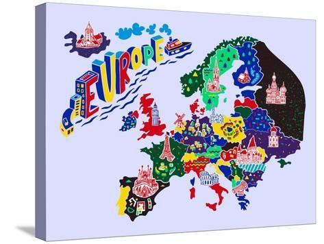 Cartoon Map of Europe. Travels-Daria_I-Stretched Canvas Print