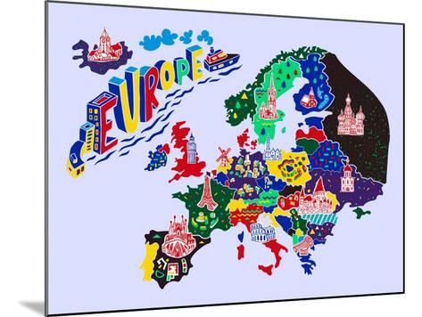 Cartoon Map of Europe. Travels-Daria_I-Mounted Art Print