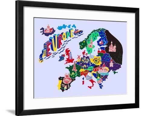 Cartoon Map of Europe. Travels-Daria_I-Framed Art Print