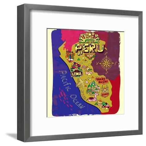 Illustrated Map of Peru. Travel-Daria_I-Framed Art Print