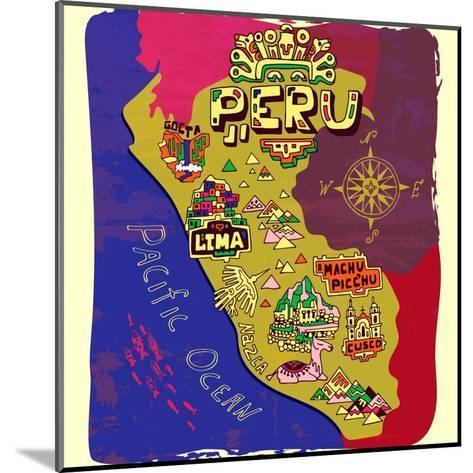 Illustrated Map of Peru. Travel-Daria_I-Mounted Art Print