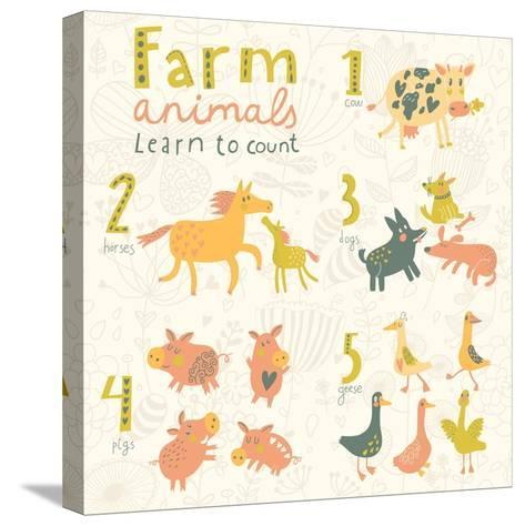 Farm Animals. Learn to Count Part One. 1 Cow, 2 Horses, 3 Dogs, 4 Pigs, 5 Geese. Funny Cartoon Chil-smilewithjul-Stretched Canvas Print