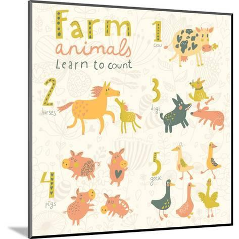 Farm Animals. Learn to Count Part One. 1 Cow, 2 Horses, 3 Dogs, 4 Pigs, 5 Geese. Funny Cartoon Chil-smilewithjul-Mounted Art Print