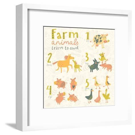 Farm Animals. Learn to Count Part One. 1 Cow, 2 Horses, 3 Dogs, 4 Pigs, 5 Geese. Funny Cartoon Chil-smilewithjul-Framed Art Print