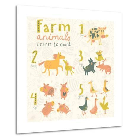 Farm Animals. Learn to Count Part One. 1 Cow, 2 Horses, 3 Dogs, 4 Pigs, 5 Geese. Funny Cartoon Chil-smilewithjul-Metal Print