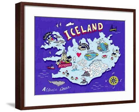 Illustrated Map of Iceland. Travel. Cartography-Daria_I-Framed Art Print