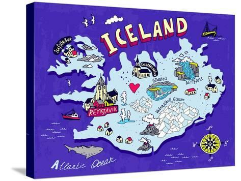 Illustrated Map of Iceland. Travel. Cartography-Daria_I-Stretched Canvas Print