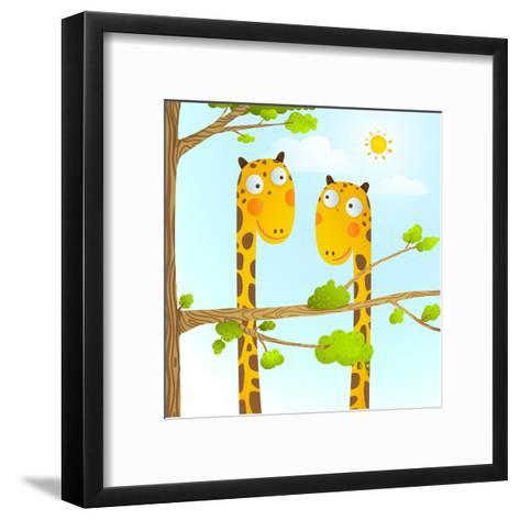 Fun Cartoon Baby Giraffe Animals in Wild for Kids Drawing. Funny Friends Giraffes Cartoon in Nature-Popmarleo-Framed Art Print