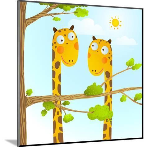 Fun Cartoon Baby Giraffe Animals in Wild for Kids Drawing. Funny Friends Giraffes Cartoon in Nature-Popmarleo-Mounted Art Print