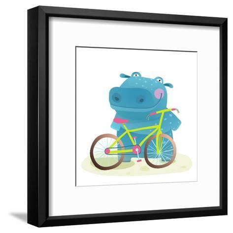 Hippo with Bicycle. Happy Fun Wild Animal Doing Bicycle Sport for Children Illustration.-Popmarleo-Framed Art Print