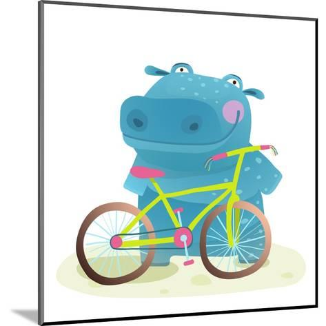 Hippo with Bicycle. Happy Fun Wild Animal Doing Bicycle Sport for Children Illustration.-Popmarleo-Mounted Art Print