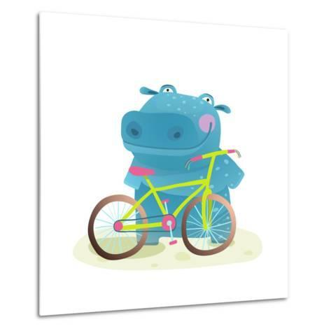 Hippo with Bicycle. Happy Fun Wild Animal Doing Bicycle Sport for Children Illustration.-Popmarleo-Metal Print